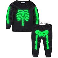 Mud Kingdom Glow in The Dark Toddler Boys Halloween Skeleton Home Set Long Sleeve