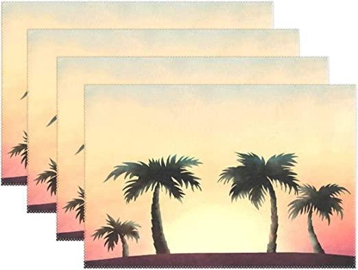 Amazon Com Placemat Set Simple Table Mats Heat Resistant For Dining Table Wedding Party Table Decoration Home Decor Kitchen Accessories Restaurant Supplies 12x18 Inch Sunset Palm Home Kitchen