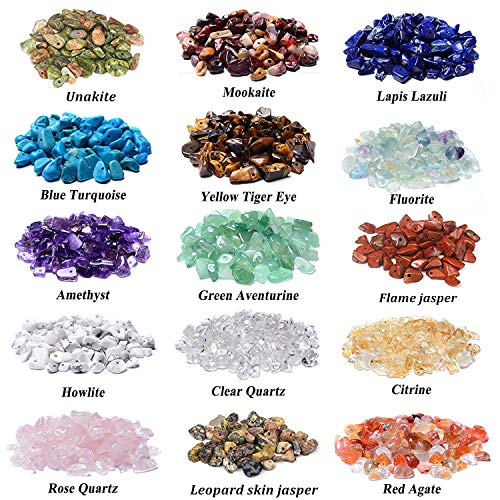 - 1500 Pcs Chip Gemstone Beads DIY Jewelry Making, Healing Engry Crystals Polishing Crushed Irregular Shaped Beads with Box (15 Materials)