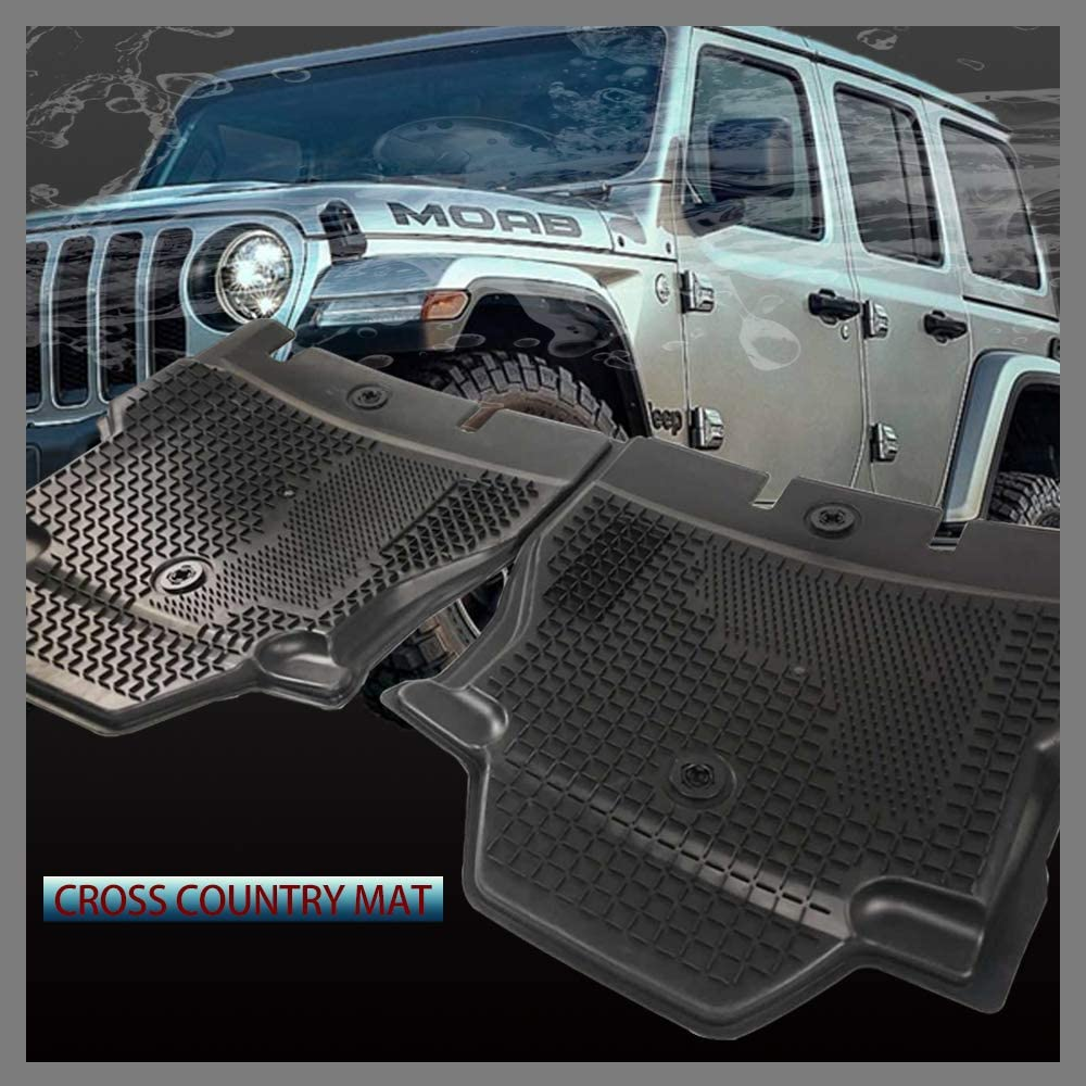 Full Set All Weather Floor Liners with Non-Toxic TPE 1st /& 2nd Row Unlimited 4-Door FIREBUG Floor Mats for Jeep Wrangler JL 2018 2019 Black Not for JK