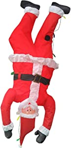 Home Accents Holiday Christmas Inflatable 6.5' Upside Down Hanging Santa