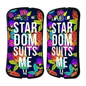 Head Case Designs Stardom Suits Me Flowery Statements Hybrid Gel Back Case for Samsung Galaxy S3 III I9300