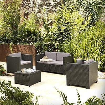Shaf - Diva | Set Muebles de Jardin de Color Gris Oscuro ...