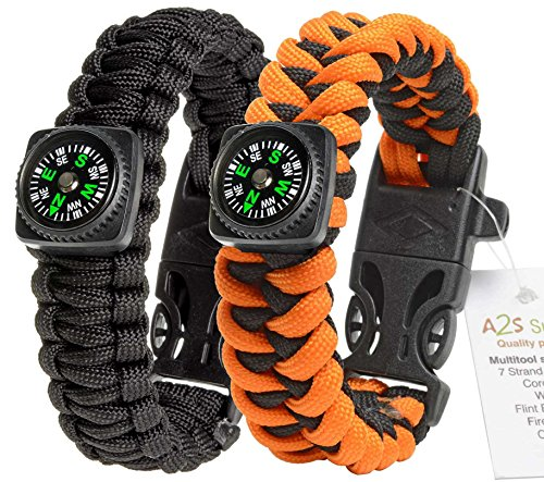 1# BEST Value For Money A2S Survival Kit Paracord Bracelet Set of 2 with Compass Flint Fire Starter, Stainless Fire Scraper, Emergency Whistle (Black / Orange, Large 9