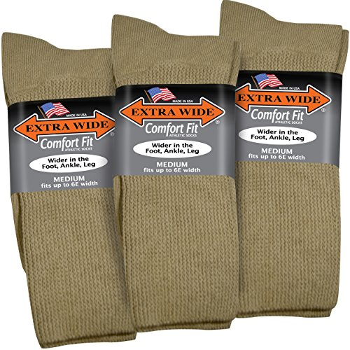 - Extra Wide Comfort Fit Athletic Crew (Mid-Calf) Socks for Men - Tan - Size 8.5-11.5 (up to 6E wide) - 3PK