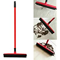 Rubber Broom for Dog Cat Pet Hair Car Windows Handle Sweeper Squeegee Floor (Red)
