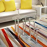 UEnjoy Cyber Monday Nest of Tables Glass Coffee Table Chromed Legs Living Room Furniture