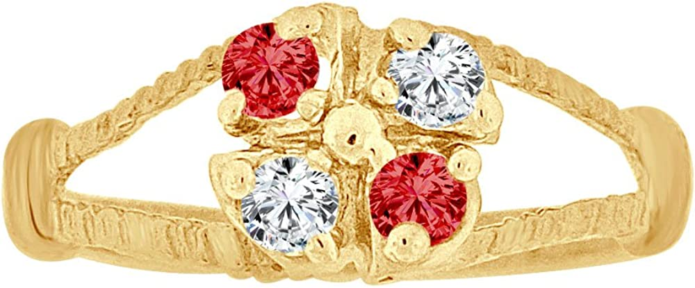 14k Yellow Gold Mini Size Child Ring Created Red /& White CZs Cluster Design