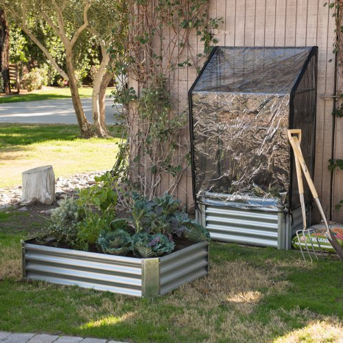 Emery Corrugated Metal Raised Garden Bed w/Greenhouse Cover Constructed of Steel w/a Zinc Plate in Silver Color 38W x 21.75D x 67H inches by Pelham Living