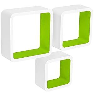 WOLTU RG9236gn - Scaffale da Parete Cube CD Dvd, Set di 3 scaffali, Stile retrò, Colore: Bianco/Verde