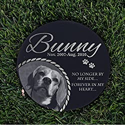 "Lara Laser Works Personalized Dog Memorial with Photo Free Engraving MDL3 Customized Grave Marker | 12"" Round"