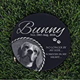 Personalized Dog Memorial With Photo Free Engraving MDL3 Customized Grave Marker | 12'' Round