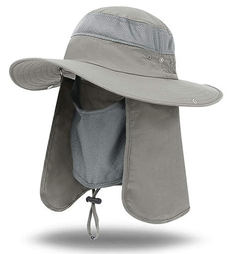 d7704ed424fd59 iColor Men's Sun Cap Fishing Hats UV Protection Sun Hats UPF 50+Neck Face  Flap