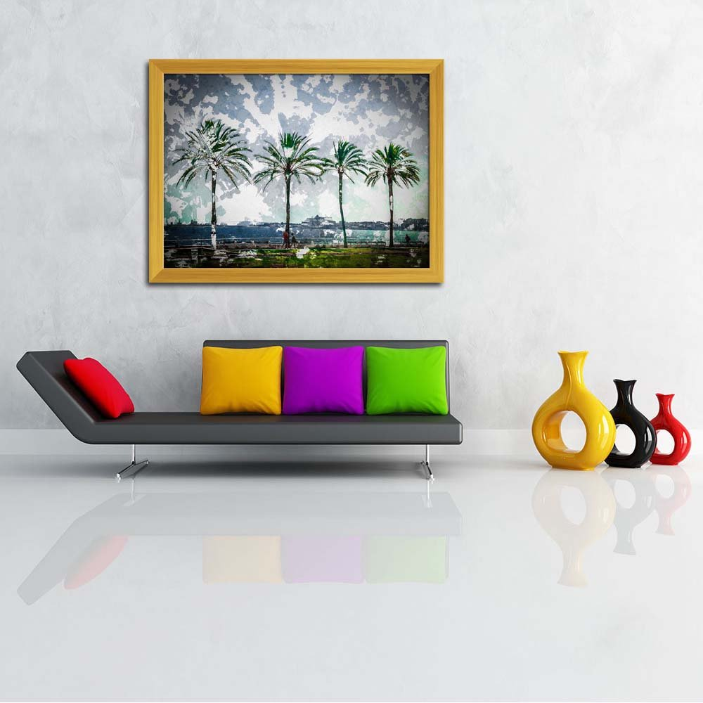 ArtzFolio Palm Trees Along Coast In Palma De Mallorca, Spain ...