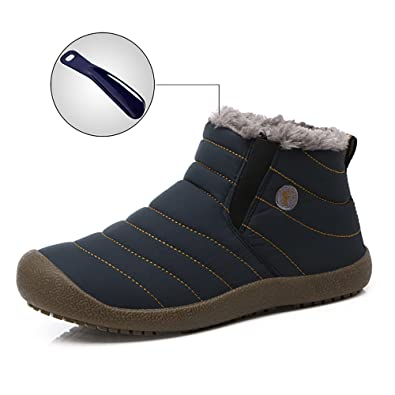 Snow Boots Women Men Anti-Slip Waterproof Winter Outdoor Slippers Fur Lined Ankle Boots