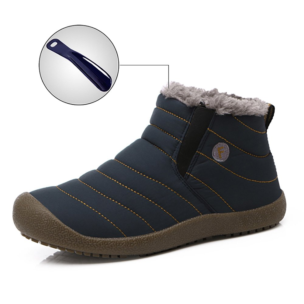 WateLves Mens Womens Snow Boots Winter Anti-Slip Ankle Booties Outdoor Slippers Slip On with Warm Fully Fur Lined (Middle Top-Blue, 36)