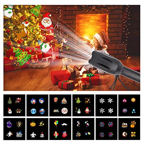 Max Fun Music Portable Handheld LED Projector Light, 3 in 1 Mode with 12 Slides Portable Party Lights for Birthday, Halloween, Thanksgiving Day,Christmas and Happy New Year ((Black)