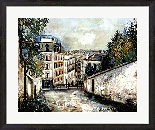 Street In Montmarte by Maurice Utrillo Framed Art Print Wall Picture, Espresso Brown Frame, 31 x 26 inches