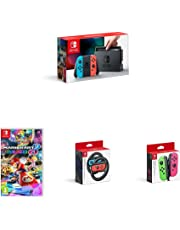 Nintendo Switch Neon Red/Blue Console with Mario Kart 8 Deluxe, extra Joy-Cons and Steering Wheel Accessories