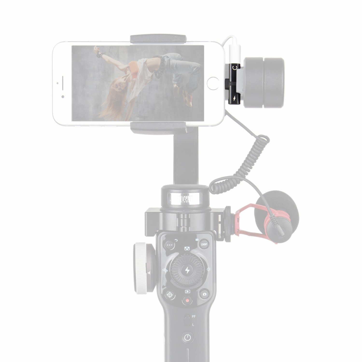 HolaFoto 2in1 Adapter, Charge & Earpod Audio Adapter Attach Microphone to Gimbal Such As Zhiyun Smooth Q/4 3 DJI Osmo Mobile 2 Feiyu SPG for iPhone Xs X/ 8/8 Plus 7/7 Plus/ 6/6 Plus