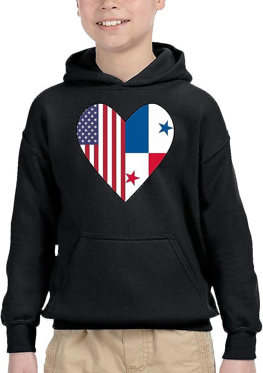 Kids//Toddlers Pullover Hoodie Fleece Half Panama Flag Half USA Flag Love Heart Sweatshirt