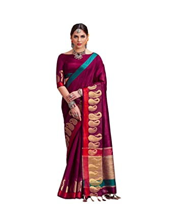 12868112ffed12 Wine Colored Nylon Silk with Khicha Pallu Weaving Print - Hand Dyeing with  Tassels Work Saree - BSASA31768  Amazon.in  Clothing   Accessories