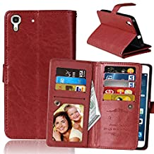 Huawei Y6 Case, Ngift Y6 Case [Wallet Function] PU Leather Folio Leather Stand Shell Flip Case Cover with 9 Cards Wallet for Huawei Y6/Honor 4A [Brown]