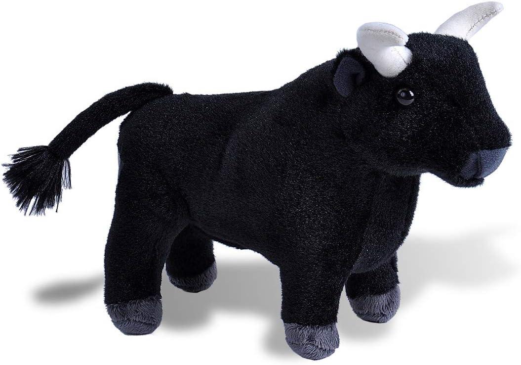 Wild Republic- Spanish Bull Toro Spagnolo Peluche 20409 20 cm Colore Nero Cuddlekins Mini