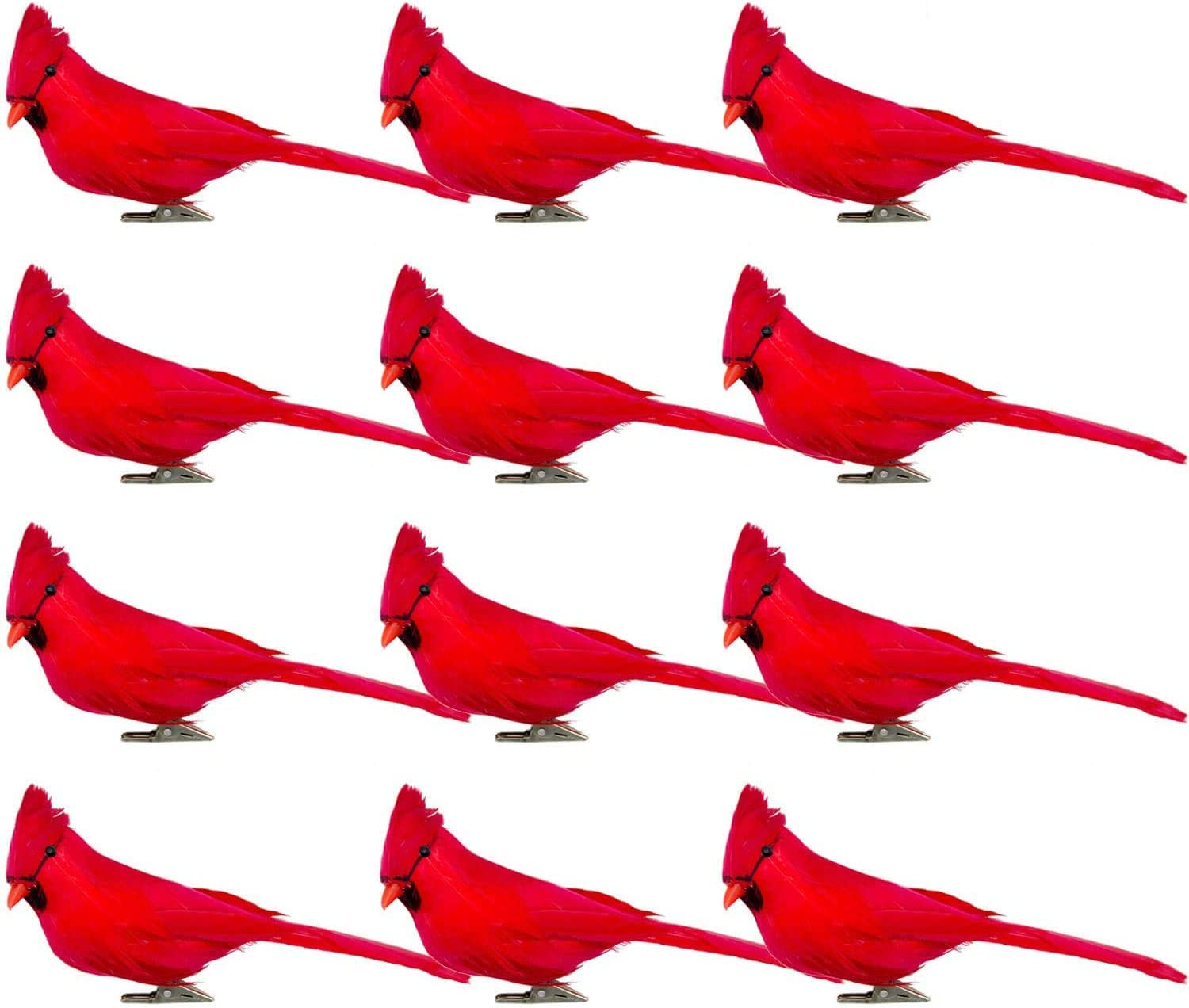 Alpurple 12 PCS Inch Artificial Red Cardinal Birds Clip-Christmas Cardinal Birds Clip for Christmas Tree Ornament Decorations, Arts and Crafts