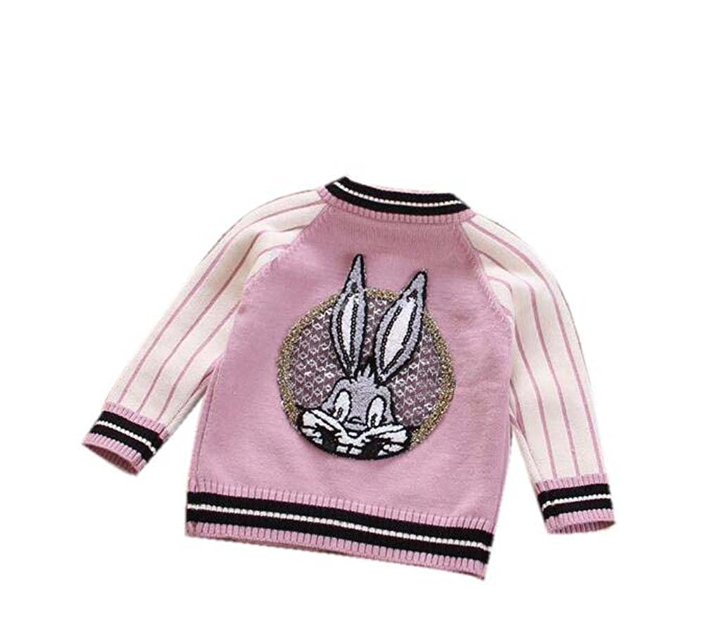 Littleladybug Girls Little Rabbit on the back Long Sleeve Baseball Uniform Cardigan Knitted Sweater