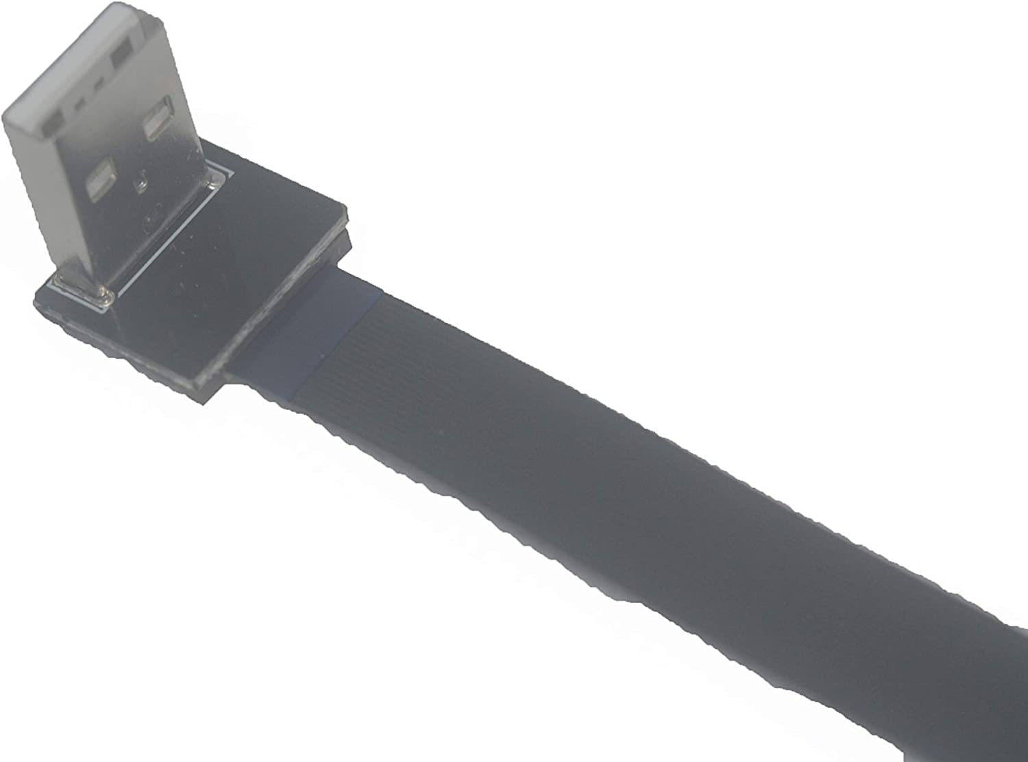 Short Flat Slim Thin Ribbon Standard USB A Male 90 Degree Angled to Standard USB A Male Straight for sync and Charging Black 15CM Standard USB A Down