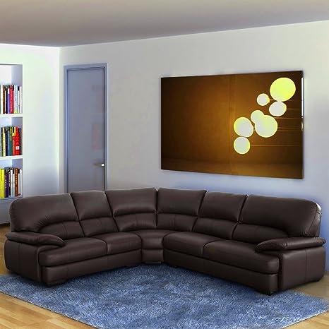 Real piel sofá en esquina grande juego de forma de L 3Seater ...