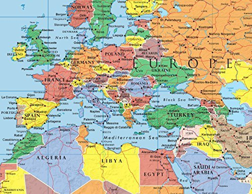 Swiftmaps 24x36 World Classic Elite Wall Map Mural Poster Laminated