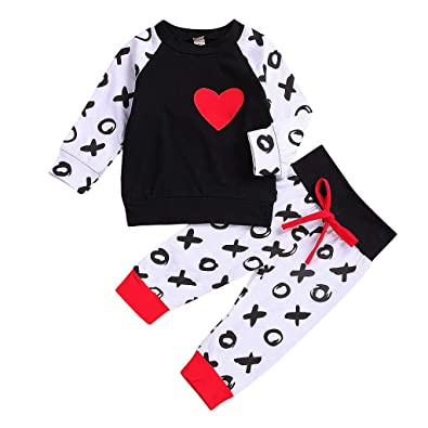 b2f962948 Baby Clothes Set, Boys Girls Heart Print Tops Blouse + Pants Toddler  Valentine Day Long