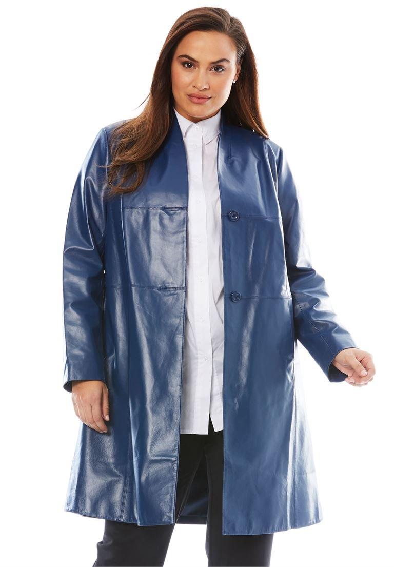 Jessica London Women's Plus Size Leather Swing Coat Dark Cobalt,14