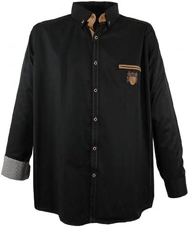 Lavecchia 1980 Dark-Black - Camisa de manga larga para hombre (tallas 3-7XL)