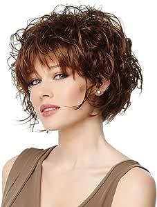 aoert corto peluca de pelo rizado para mujeres – marrón rizado ...