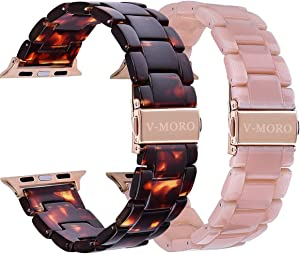 V-MORO Resin Strap Compatible With Apple Watch Band 40mm 38mm Series 5 Series 4 Series 3 - Tortoise+Pink