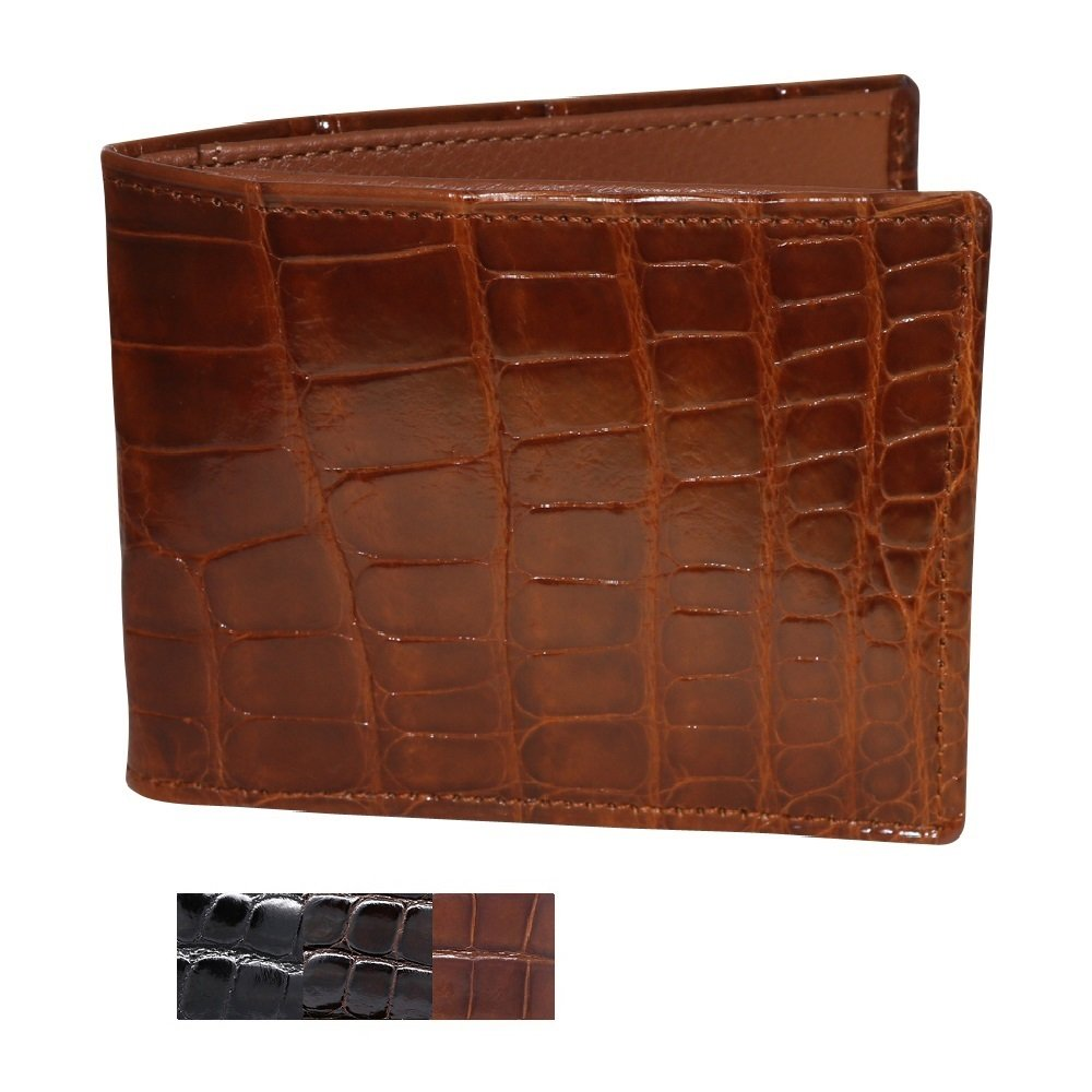 Cognac Glazed Genuine Alligator Skin Wallet for Men – American Factory Direct – Gift box – Gifts for Men – Made in USA by Real Leather Creations FBA734 TT by Real Leather Creations (Image #1)