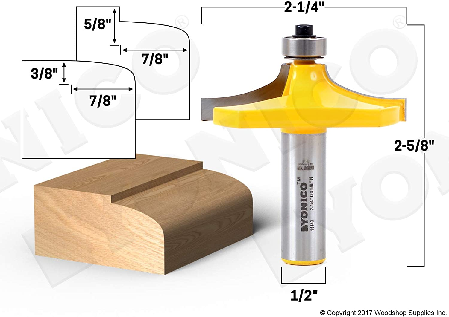 Yonico 13140 Thumbnail Table Edge Router Bit with Medium 1//2-Inch Shank