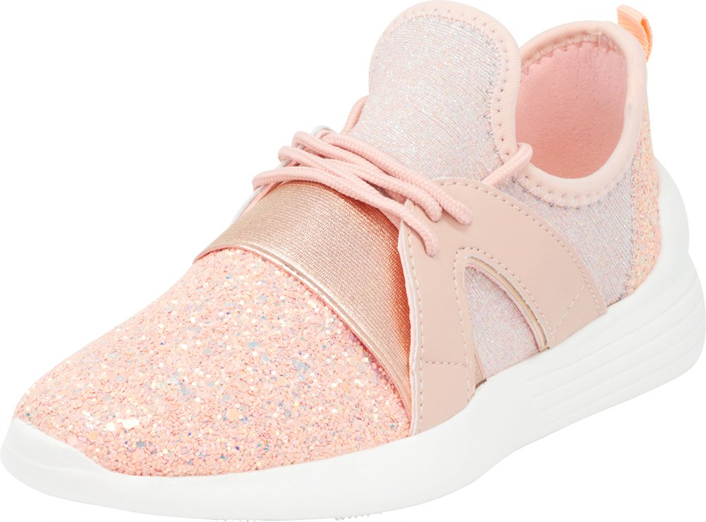 Cambridge Select Women's Low Top Closed Toe Lightweight Soft Stretch Glitter Lace-up Casual Sport Fashion Sneaker,10 B(M) US,Dusty Rose