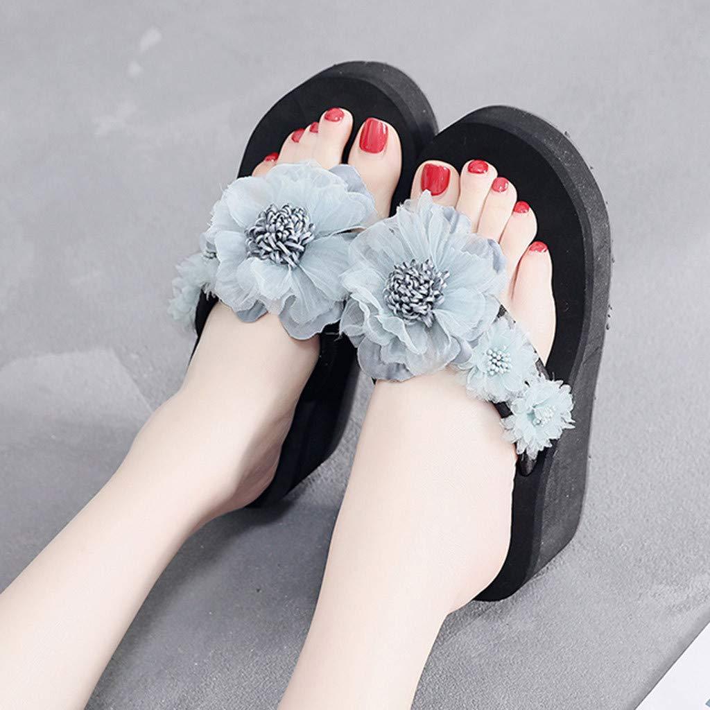 AgrinTol Women Sandals Summer Flowers Bohemian Style Slippers Beach Sandals Shoes