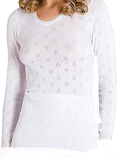 Camiseta térmica de manga larga, de color blanco, para mujer, con diseño de copos de nieve blanco blanco Large: Amazon.es: Ropa y accesorios