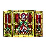 "Chloe Lighting 3pcs Folding Victorian 44"" Wide Tiffany-Glass Fireplace Screen,"