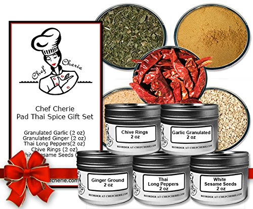 Chef Cherie's Pad Thai Spice Gift Set -Contains 5 2 oz. Tins