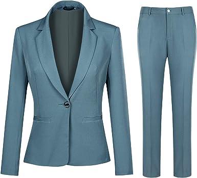 Amazon Com Conjunto De Traje De Trabajo De Oficina De 2 Piezas Para Mujer Con Un Boton Blazer Y Pantalones Clothing