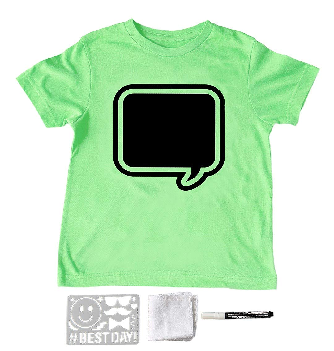 Youth Extra-Small Chalk of the Town Lime Speech Bubble T-Shirt w// 1 White Marker Kit