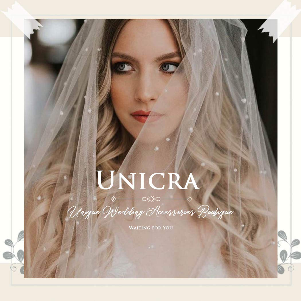 Unicra Hochzeit Brautschleier mit Kamm Braut T/üll Schleier Hochzeit Haarzubeh/ör f/ür Br/äute 1 Tier Fingerspitzenl/änge 35,4 Zoll