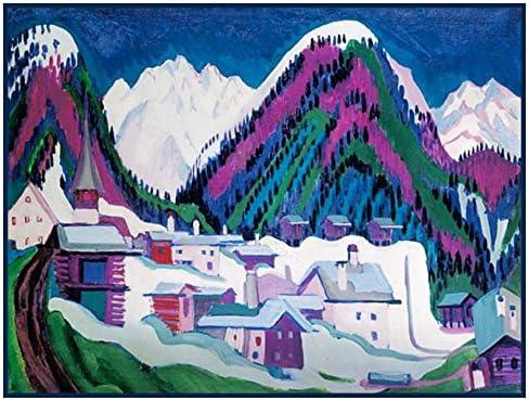 Winter in Davos Swiss Landscape Ernst Kirchner Counted Cross Stitch Pattern