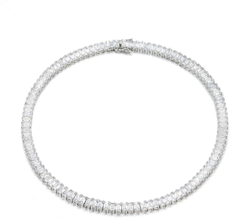 NYC Sterling Women's Luxury Cubic Zirconia Emerald Cut Tennis Necklace